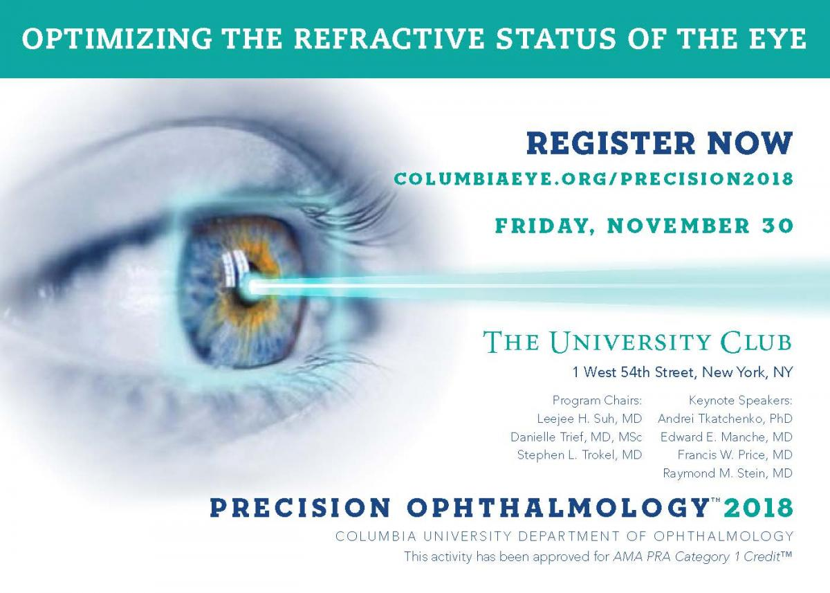 Precision Ophthalmology 2018 is Coming! | Columbia Ophthalmology